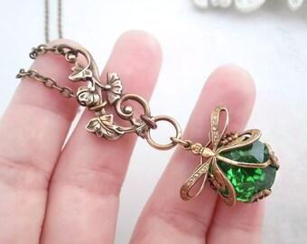 Green dragonfly necklace,  Art Nouveau asymmetrical necklace, dragonfly jewelry, filigree jewelry statement necklace, bug pendant necklace