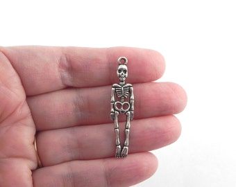 10 Skeleton Metal Charms in Antiqued Silver - 39mm x 9mm