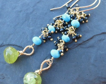 Green garnet and turquoise earrings - 14k gold fill - artisan gemstone jewelry - long beaded dangle earrings - acid chartreuse - linear