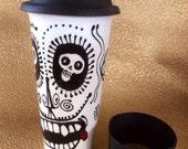 Dali' Dracula Skull Travel Mug with Silicone Lid & Sleeve