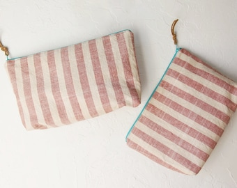 Striped Linen Pouch