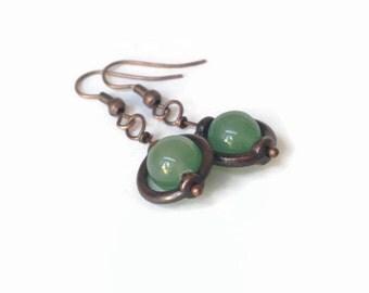 Choose Stone Custom Earrings Handmade Jewelry Rustic Globe Earrings Green Earrings Bohemian Jewelry Stone Jewelry Copper Jewelry California
