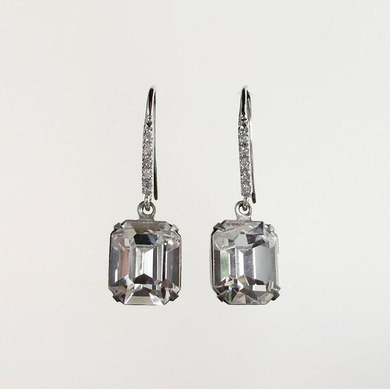 Emerald Ice Lux, Swarovski crystal earrings