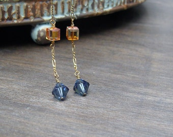 Blue and gold Swarovski crystals and antique brass chain earrings
