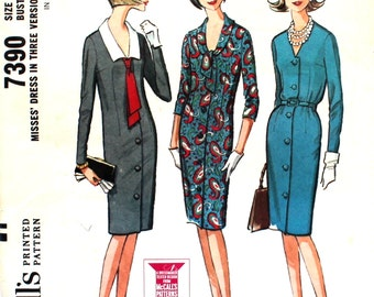 UNCUT 1960's Dress with Collar Variations and 3/4 Sleeves Bust 31