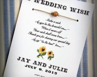 Shy Sunflowers - A Country Western Theme Wedding Wish - Unity Bead Wish Bracelet Wedding Favor Custom Made for You
