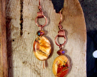 Artisan Made Jasper and Crystal Dangle Earrings Antique Copper Handmade Ear Wires 1.99 SHIPPING USA