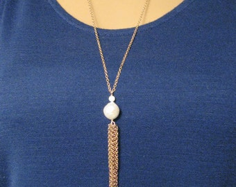 Pearl Chain Tassel Long Necklace in Gold Tone Bronze - Genuine Kasumi Like Cultured Pearl - Boho Chic - Modern Romance