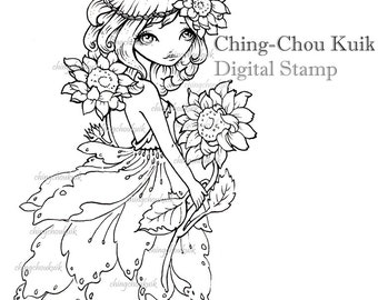 Sunshine - Digital Stamp Instant Download /  Sunflower Girl Lil Sweetie Mia by Ching-Chou Kuik