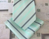 Mint Mens Tie. Mint Green and Gray Stripes Mens Necktie With Matching Pocket Square Option