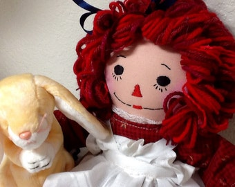 Raggedy Ann Doll with Bunny - 15 inch -Ready to Ship - Red dress - Personalization Available (by separate listing)