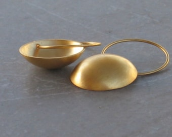 Gold dome hoop earrings, round gold dangle earrings, round gold drop earrings
