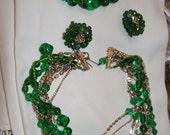 Green Glass Multistrand  Choker Bracelet Earrings Vintage 1950s  W Germany