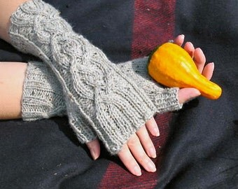 Storm Gray Tweed Cable Knit Fingerless Gloves Peruvian Wool Arm Warmers Women's Mittens -Tweed Cables Series - Ready to Ship