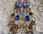 Lilygrace Italian Mosaic Rose Earrings with Brass Flowers, Scrolls, Vintage Pearls and  Vintage Rhinestones