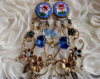 Lilygrace Italian Mosaic Rose Earrings with Brass Flowers, Scrolls, Vintage Pearls and  Vintage Rhinestones