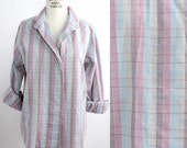 pastel plaid cotton top | vintage cotton button down shirt | casual checked shirt | S-M
