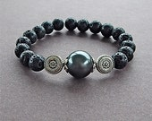 Edgy Rockstar Black Pearl & Lava Rock Bracelet Unisex Perfect For A Man or Woman