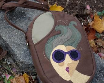 Goddess With Sunglasses Textile Art Adjustable Strap Wearable Art Purse