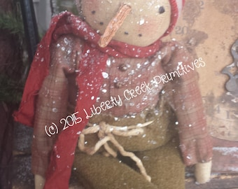 "Primitive Snowman Doll ""Elliot"" Epattern Instant Download"
