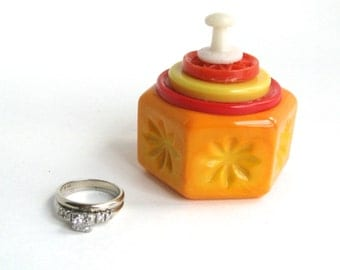 Orange Hexagon Engagement Ring Box Salt Cellar with Vintage Button Lid