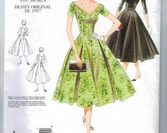 REPRODUCTION Misses Sewing Pattern Vogue V2903 2903 1957 50s 1950s Style Princess Seam Dress Full Skirt Size 18 20 22 Bust 40 42 44 uncut