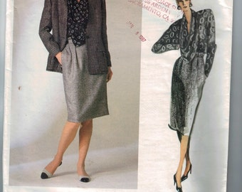 1980s Vintage Sewing Pattern Vogue 1755 Skirt Blouse and Jacket Ann Klein American Designer Size 10 Bust 32 1/2 1986 80s UNCUT