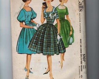 1950s Vintage Sewing Pattern McCalls 5107 Misses Dress with Full Skirt Square Neck and Puff Sleeves Size 14 Bust 34 1959 50s