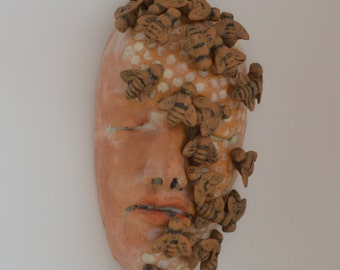 More than Honey - Ceramic Sculpture Mask The Beekeeper READY TO SHIP