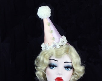 Ready to Ship, Clown Hat, Circus Costume, Burlesque, Retro,Halloween Costume, Party Hat, Birthdays, Pink, Blue, Kids, Adults,