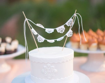 Papel picado miniature cake topper bunting - LAS FLORES - Ready made
