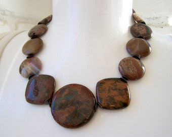 Natural Stone Necklace, chunky necklace, natural stone,  coffee jasper, Pietersite gemstone, big bold statement jewelry, beaded necklace