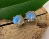 Labradorite Earrings in Gold, Silver, Platinum, or Palladium with Genuine Gems, 6mm - Free Gift Wrapping
