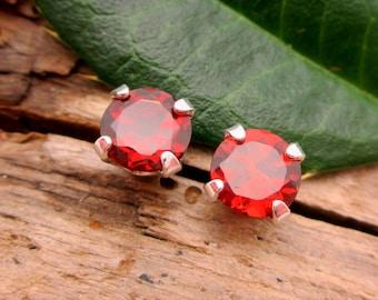 Red Garnet Studs - Genuine Red Garnet Stud Earrings, Real 14k Gold, Platinum, or Sterling Silver - 3mm, 4mm, 6mm