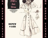 Vintage Sewing Pattern 1940's Ladies' Sun Dress in Any Size Depew 4488 - Plus Size Included -INSTANT DOWNLOAD-