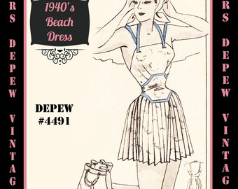 Vintage Sewing Pattern 1940's Ladies' Beach Dress Cover Up in Any Size Depew 4491 - Plus Size Included -INSTANT DOWNLOAD-
