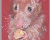 Rat, rat avec fromage ACEO, petit portrait d'animal de compagnie, aceo aimant aceo sur chevalet, cartes à collectionner art, art collection, petit art, acrylique
