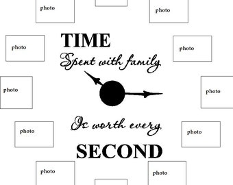 Time Spent with Family DECAL ONLY for creating a photo wall clock