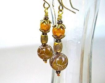 Extra Long Boho Earrings Brown Stone Bronze Antique Brass Orange Gold Glass Earthy Jewelry Jade Gemstone Tribal Style Jewelry for Women E360