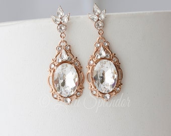 Bridal Earrings Rose Gold  Bridal Jewelry Crystal Wedding Earrings Statement Wedding Jewelry RYAN