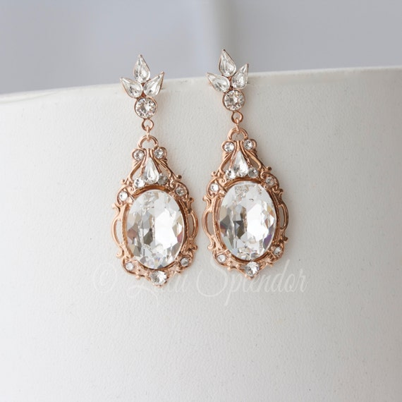 Large Octagon Earrings Rose Gold Earrings Luxury Jewelry Rhinestone