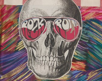 rock and roll skull tea towel vintage sunglasses psychedelic