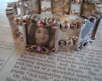 1920s Theme Photo Bracelet ~ Art Nouveau with Vintage Clippings from 1921