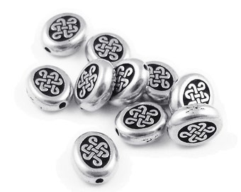 Celtic Beads - Antique Silver Beads - 10mm x 7mm TierraCast Endless Beads - Celtic Knotwork Eternity Beads (P387)