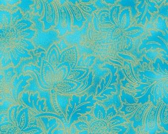 Grandeur Aqua Jewel Robert Kaufman Grandeur Fabric 1 yard