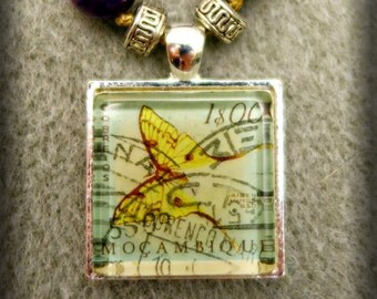 Beaded Mozambique Postage Stamp Pendant Necklace (One of a Kind!)