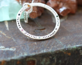 For Eternity.. Larger hand forged thick sterling silver personalized eternity ring set with gem stones