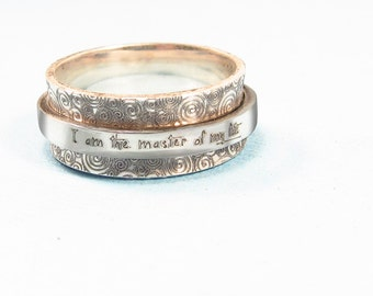 Personalized Ring   -  Spinner Ring  -  Silver Engraved Jewelry - Graduation Gift - Custom Ring - Worry Ring  -Jewelry