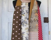Patchwork Mori Girl forest girl inspired long cotton scarf made out of vintage, recycled and new fabrics with crochet trim