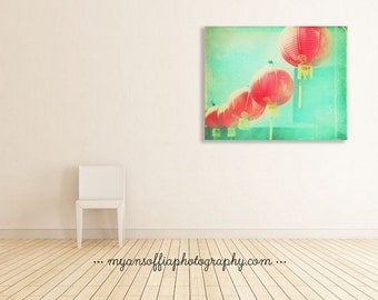 asian decor, red paper lanterns, photography, Chinatown Los Angeles, cherry red chinese lanterns mint green photo canvas gallery wrap